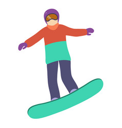 young girl is riding a snowboard in stylish bright vector image