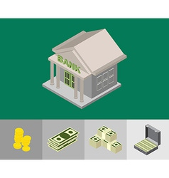 bank isometric icons vector image