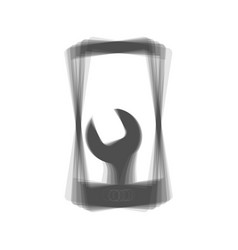 phone icon with settings gray icon shaked vector image vector image