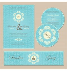 wedding set blue vector image vector image