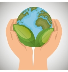 world with leaves hands holds ecology icon vector image