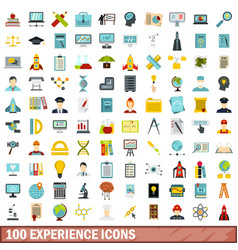 100 experience icons set flat style vector