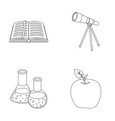 an open book with a bookmark a telescope flasks vector image vector image