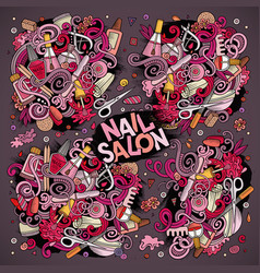 cartoon set of nail salon theme doodles vector image vector image