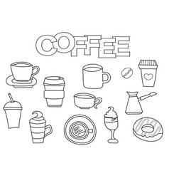 coffee elements hand drawn set vector image vector image