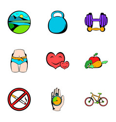 gym icons set cartoon style vector image