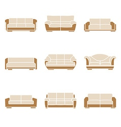 Set of stylish sofas vector image vector image