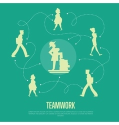 Teamwork banner with people silhouettes vector image
