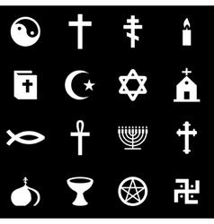 white religion icon set vector image