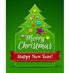 Christmas tree applique vector image vector image