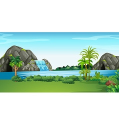 Scene with waterfall and field vector image vector image