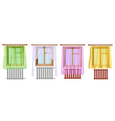 a set of cartoon colored image of window curtains vector image vector image