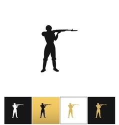 Army soldier silhouette icon vector image