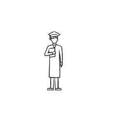 bachelor in graduation cap hand drawn sketch icon vector image