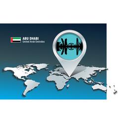 Map pin with Abu Dhabi skyline vector image vector image
