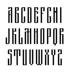 Narrow sans serif font based on old slavic vector
