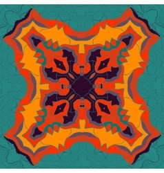 Red and yellow mandala ornament over symmetry vector image