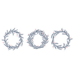 set of silhouette christmas wreath frames vector image vector image