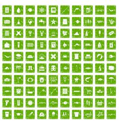 100 fish icons set grunge green vector image