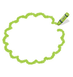 A green crayon message frame vector