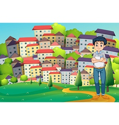 A serious man standing at the hilltop across vector