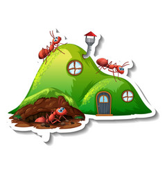 A sticker template with fantasy ant nest isolated vector