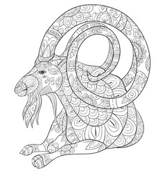 Adult coloring bookpage a cute goat image vector