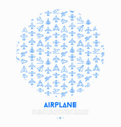 airplane concept in circle with thin line icons vector image