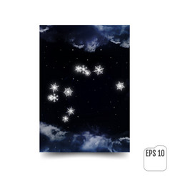 aquarius constellation of snowflakes zodiac sign vector image