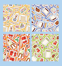 art studio seamless pattern studying in vector image