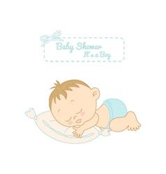 Baby shower card with pretty boy sleeping vector
