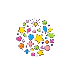 Background with happy outline icons vector