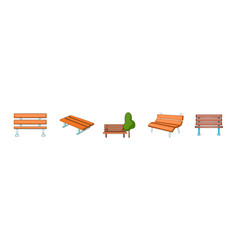 bench icon set cartoon style vector image