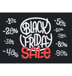 Black Friday lettering with percentage numbers vector