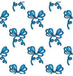 Blue wrapping bows seamless pattern hand drawn vector