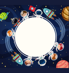 border template with astronauts in space vector image