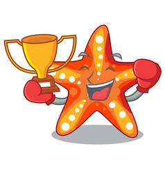boxing winner underwater sea in the starfish vector image