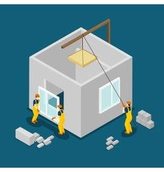 Building Construction Workers Isometric Banner vector