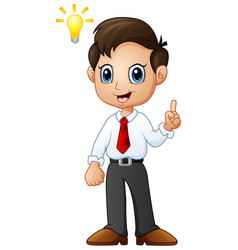 cartoon businessman thinking a new idea vector image