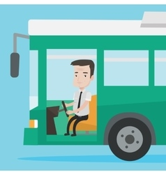 Caucasian bus driver sitting at steering wheel vector