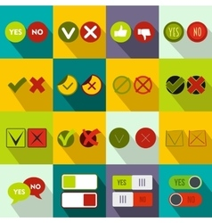 Check mark icons set flat style vector