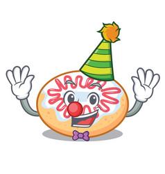 Clown jelly donut mascot cartoon vector