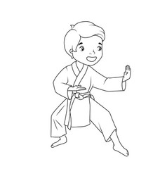 coloring book little boy wearing kimono vector image
