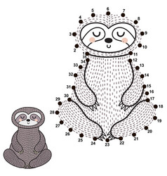 Connect the dots and draw a cute meditating sloth vector