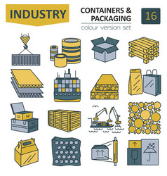 containers and packaging icon set thin line vector image