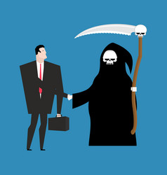 Contract with death grim reaper and businessman vector