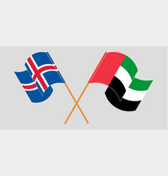 Crossed and waving flags iceland and united vector
