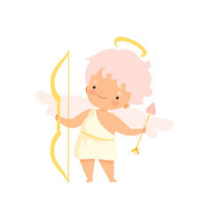 cute boy cupid with nimbus and wings with bow and vector image