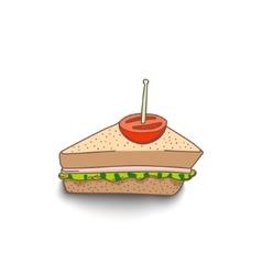 Cute hand-drawn cartoon style sandwich with shadow vector