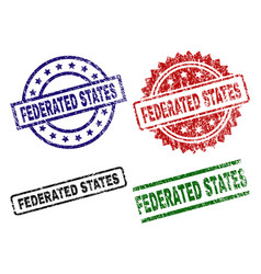 Damaged textured federated states seal stamps vector